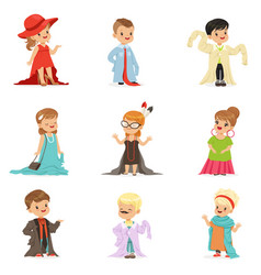 Cute little kids wearing elegant adult oversized vector