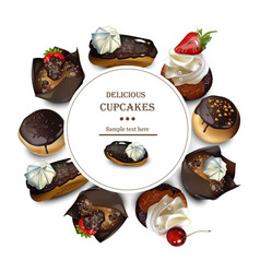 delicious cakes round card realistic vector image