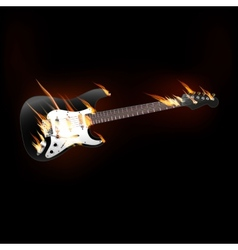 electric guitar on fire vector image vector image