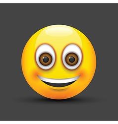 Emoji smiling brown eyes vector