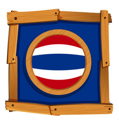 Flag of thailand on wooden frame vector