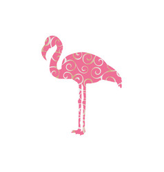 Flamingo bird color silhouette anima vector