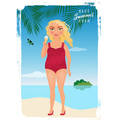 girl on the sea beach vector image vector image