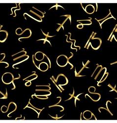 Golden zodiacal signs over black background vector image