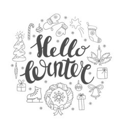 Hello winter handlettering with christmas elements vector image vector image