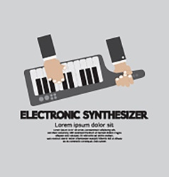 Musician playing electronic synthesizer flat vector