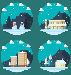 Pack of flat design winter scenes vector image