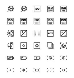 Photography line icons 3 vector