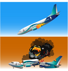 plane crash with fire vector image vector image