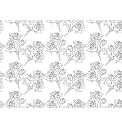 Seamless black and white pattern of roses vector image vector image