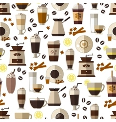 Seamless coffee pattern in flat style vector image
