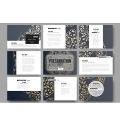 Set of 9 templates for presentation slides Golden vector image