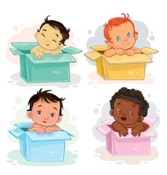Set of babies different races vector