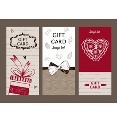 Set of gift cards hand-drawn templates gift vector