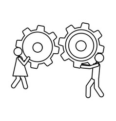 Silhouette pictogram man and woman holding a vector