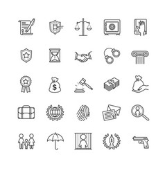 Thin line icons set - law and lawyer services vector