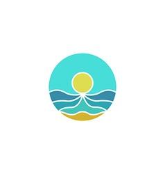 Tourism mockup logo sun sea sand abstract icon vector