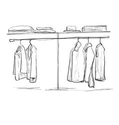 Wardrobe sketch hallway interior with clothes vector