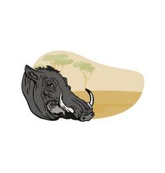 Warthog head vector