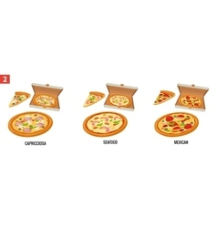 Whole pizza and slices of pizza in open white box vector image vector image