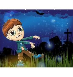 Zombie boy on a cemetery vector image
