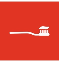 The toothbrush icon toothpaste symbol flat vector