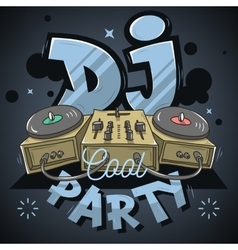 Dj cool party design for event poster sound mixer vector
