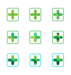 Cross plus medical pharmacy green logo icons vector