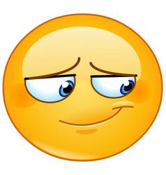 embarrassed smile emoticon vector image