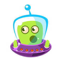 Emotionally speaking green alien in a flying vector