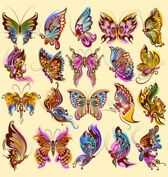 tattoo art design of butterfly collection vector image