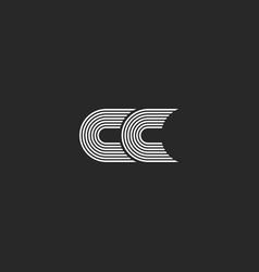 logo cc monogram letter simple two c initials vector image