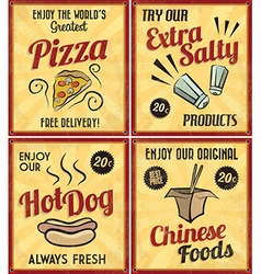 Set of Retro Vintage Tin Signs with Grunge Effect vector image