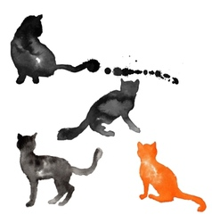 Silhouettes of cats made with watercolor vector