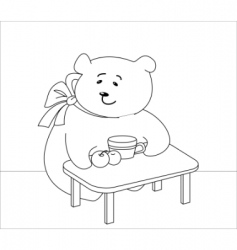Girl bear with peaches contours vector