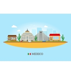 Mexico landmarks skyline vector