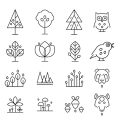 Abstract forest drawing collection vector