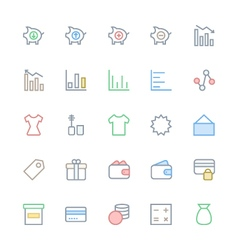 User interface colored line icons 37 vector