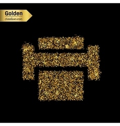 Gold glitter icon of printer isolated on vector