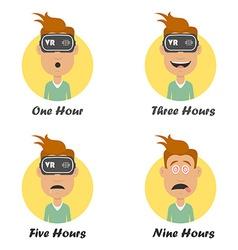 Cartoon man in virtual reality headset gaming vector