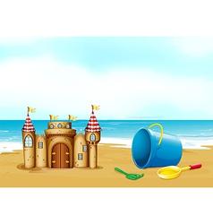 A castle at the beach vector