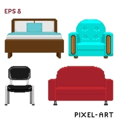 A set of furniture elements in pixel art style vector image vector image