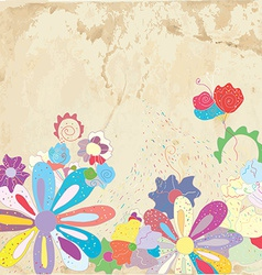 Abstract floral background on paper texture vector image vector image