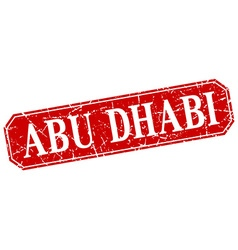 Abu dhabi red square grunge retro style sign vector