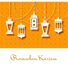 Arabic lanterns background for ramadan kareem vector