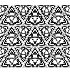 Black and white celtic triskels seamless vector