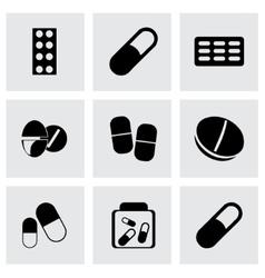 black pills icons set vector image vector image