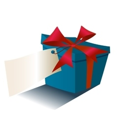 Blue gift box with red ribbon isolated on white vector