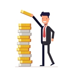 Businessman or manager puts money and coins in a vector image vector image