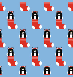 Cat in christmas stocking pattern vector